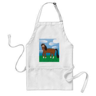Bahía del caballo del dibujo animado con los delantal