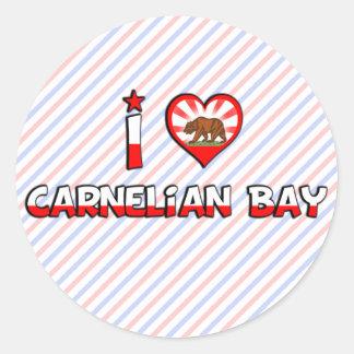 Bahía del Carnelian, CA Pegatina Redonda