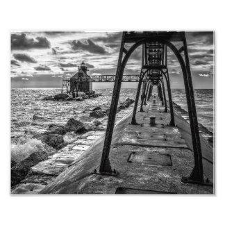 Bahía del esturión, WI - faro de Great Lakes Fotografía