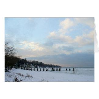 bahía del noyac del invierno tarjeta pequeña