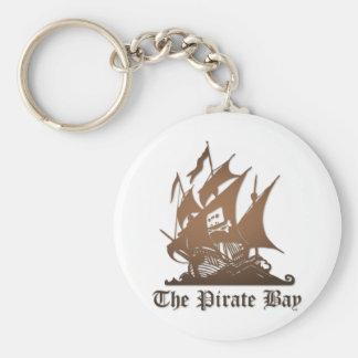 Bahía del pirata, piratería ilegal del Internet Llavero Redondo Tipo Pin