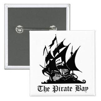 Bahía del pirata, piratería ilegal del Internet Pin Cuadrada 5 Cm