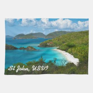 Bahía del tronco, St John USVI Toalla De Cocina