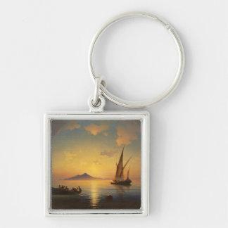 Bahía del waterscape del paisaje marino de Nápoles Llavero Cuadrado Plateado
