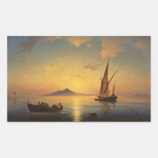 Bahía del waterscape del paisaje marino de Nápoles Pegatina Rectangular