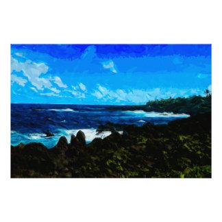 Bahía en el camino al extracto de Hana Maui Fotografía