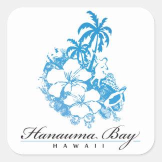 Bahía Hawaii de Hanauma Pegatina Cuadrada