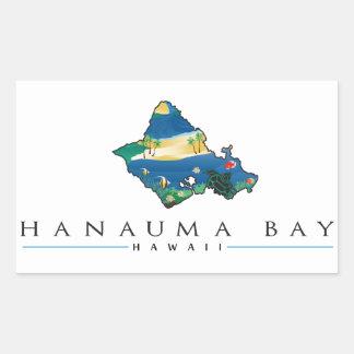 Bahía Hawaii de Hanauma Pegatina Rectangular