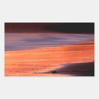 Bahía Marin de los Drakes de la puesta del sol de Pegatina Rectangular