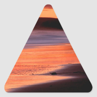 Bahía Marin de los Drakes de la puesta del sol de Pegatina Triangular