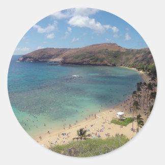 Bahía Oahu de Hawaii Hanauma Pegatina Redonda