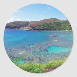 Bahía Oahu Hawaii de Hanauma Pegatina Redonda