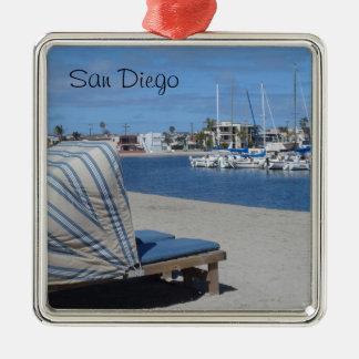 Bahía San Diego de la misión Adorno Navideño Cuadrado De Metal