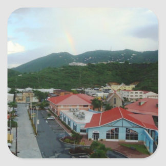 Bahía St Thomas, USVI de la corona Pegatina Cuadrada