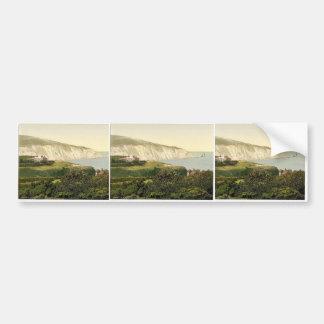 Bahía y las agujas isla del alumbre del Wight In Etiqueta De Parachoque