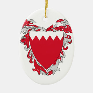 Bahrain Coat of Arms Double-Sided Oval Ceramic Christmas Ornament