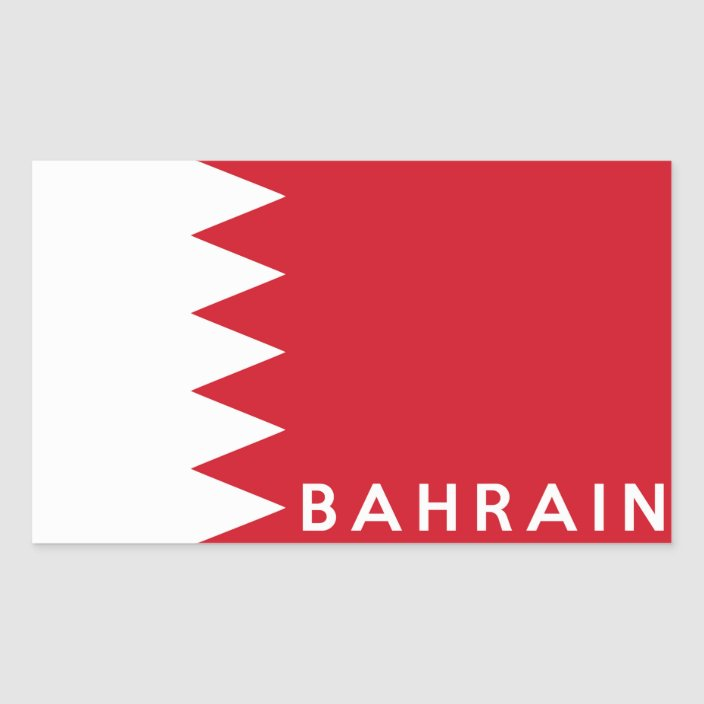 bahrain country flag symbol name text rectangular sticker | Zazzle.com