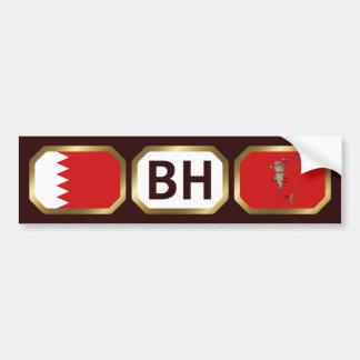 Bahrain Flag Map Code Bumper Sticker Car Bumper Sticker