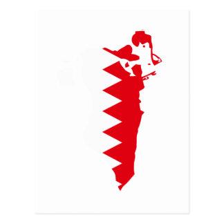 Bahrain flag map postcard