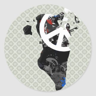 Bahrain Trendy Peace Sign with Bahraini map Round Stickers