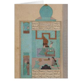 Bahram visita a una princesa en la turquesa tarjeta de felicitación