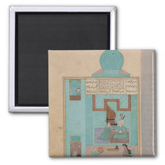 Bahram Visits a Princess in the Turquoise 2 Inch Square Magnet