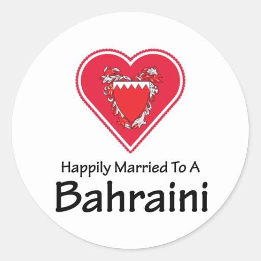 Bahreiní feliz casado pegatina redonda