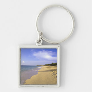 Baie Longue Long Bay beach, St. Martin, Silver-Colored Square Keychain