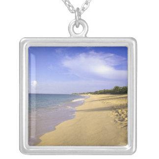Baie Longue Long Bay beach, St. Martin, Square Pendant Necklace