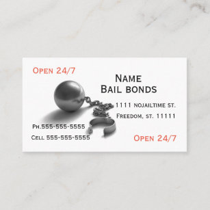 Bail bonds ball and chain business card
