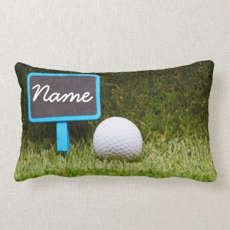 bail out sign with golf ball on green grass lumbar pillow