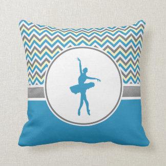 Bailarín azul de Chevron personalizado Cojín