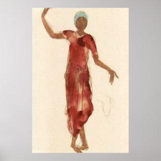 Bailarín c1906 de Camboya de Rodin del ~ de la bel Póster