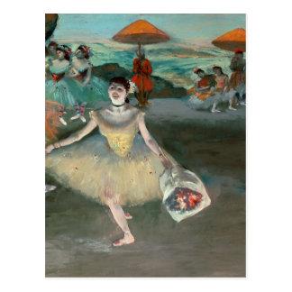 Bailarín con el ramo curtseying 1877 postal