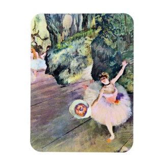 Bailarín con un ramo de flores de Edgar Degas Imán Foto Rectangular