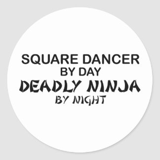 Bailarín cuadrado Ninja mortal por noche Pegatina Redonda
