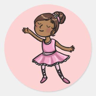 Bailarín de ballet del dibujo animado pegatina redonda