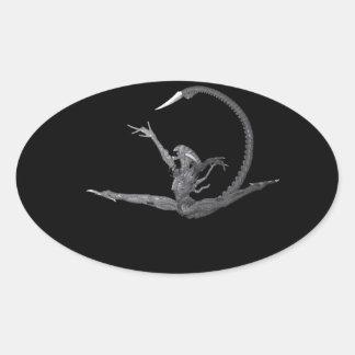 Bailarín de ballet del espacio exterior pegatina ovalada