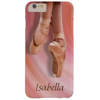 Bailarín de ballet en rosa con nombre de encargo funda para iPhone 6 plus barely there