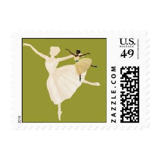 Bailarín de ballet en sello de Pointe