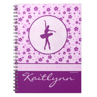 Bailarín de ballet personalizado Purple Heart Spiral Notebooks