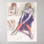 Bailarín de Edgar Degas con las medias rojas Poster