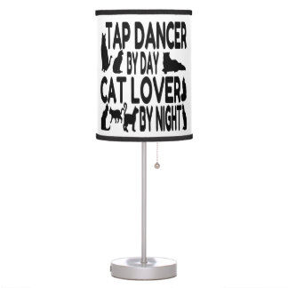 Bailarín de golpecito del amante del gato lámpara de mesilla de noche