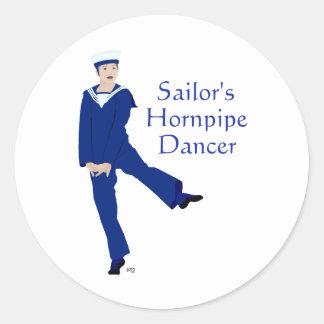 Bailarín de Hornpipe de los marineros Pegatina Redonda