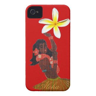 Bailarín de Hula con Plumeria tropical iPhone 4 Funda