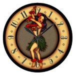 Bailarín de Hula del arte del tatuaje del vintage Reloj