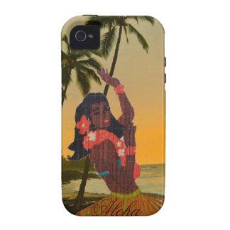 Bailarín de Hula en la playa hawaiana iPhone 4 Carcasas