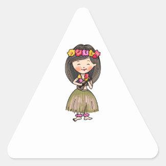 Bailarín de Hula Pegatina Triangular