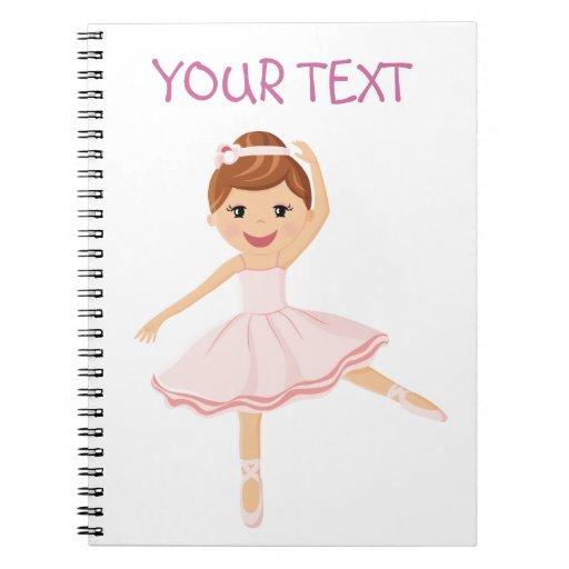 Bailarín de la bailarina con el pelo marrón notebook