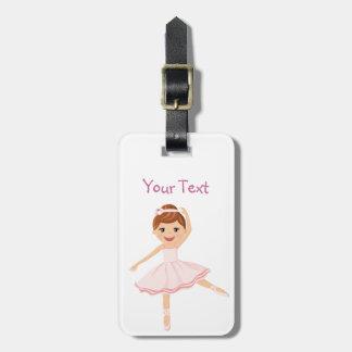 Bailarín de la bailarina con el pelo marrón etiqueta de equipaje